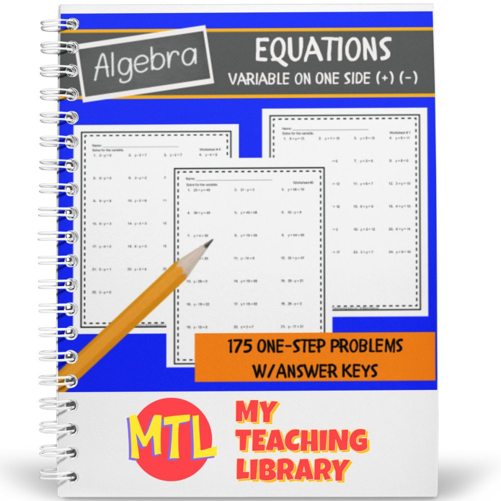 medium resolution of Solving One-Step One-Variable Equations   Algebra Worksheets - My Teaching  Library   CHSH-Teach LLC