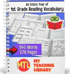 1st Grade Reading Vocabulary   Complete - My Teaching Library   CHSH-Teach  LLC [ 1151 x 1151 Pixel ]