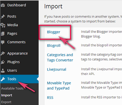 How to Import Blogger XML File to WordPress