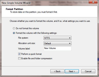 New Partition in Windows 7 - 32/64bit