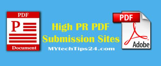 Top best high PR PDF submission sites list 2020