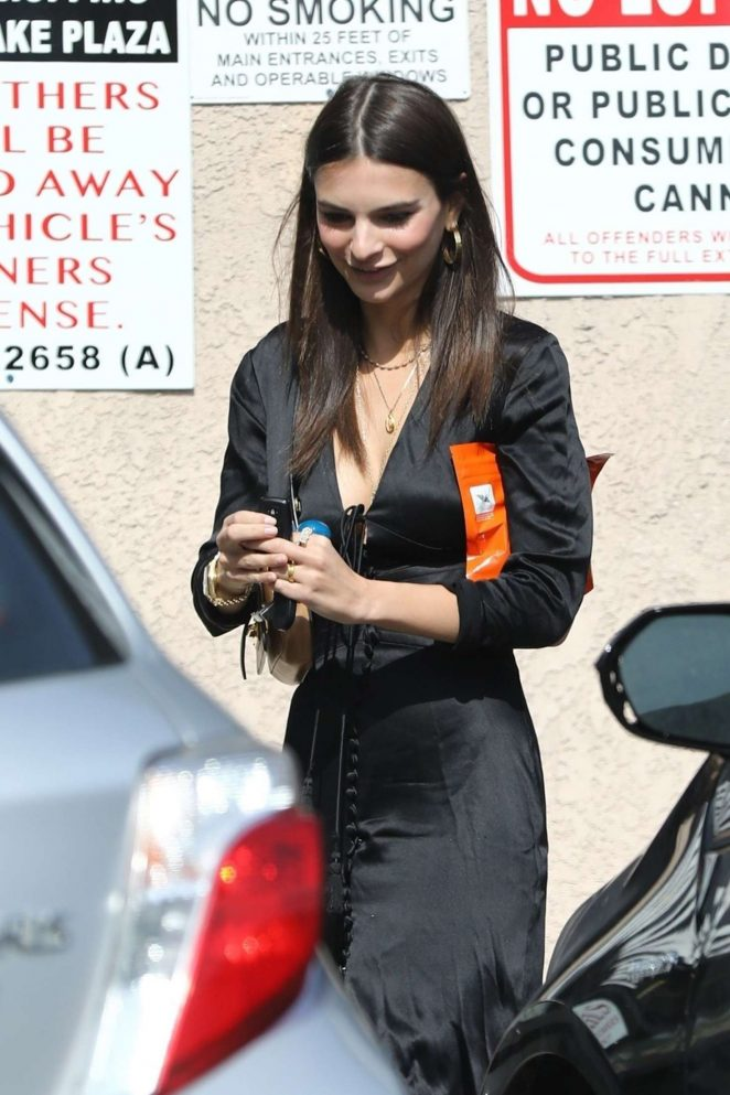 Emily Ratajkowski in Black Dress out in Los Angeles