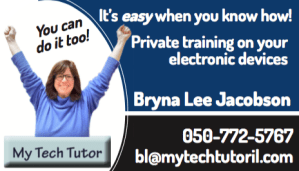 New My Tech Tutor business card has 2 sides