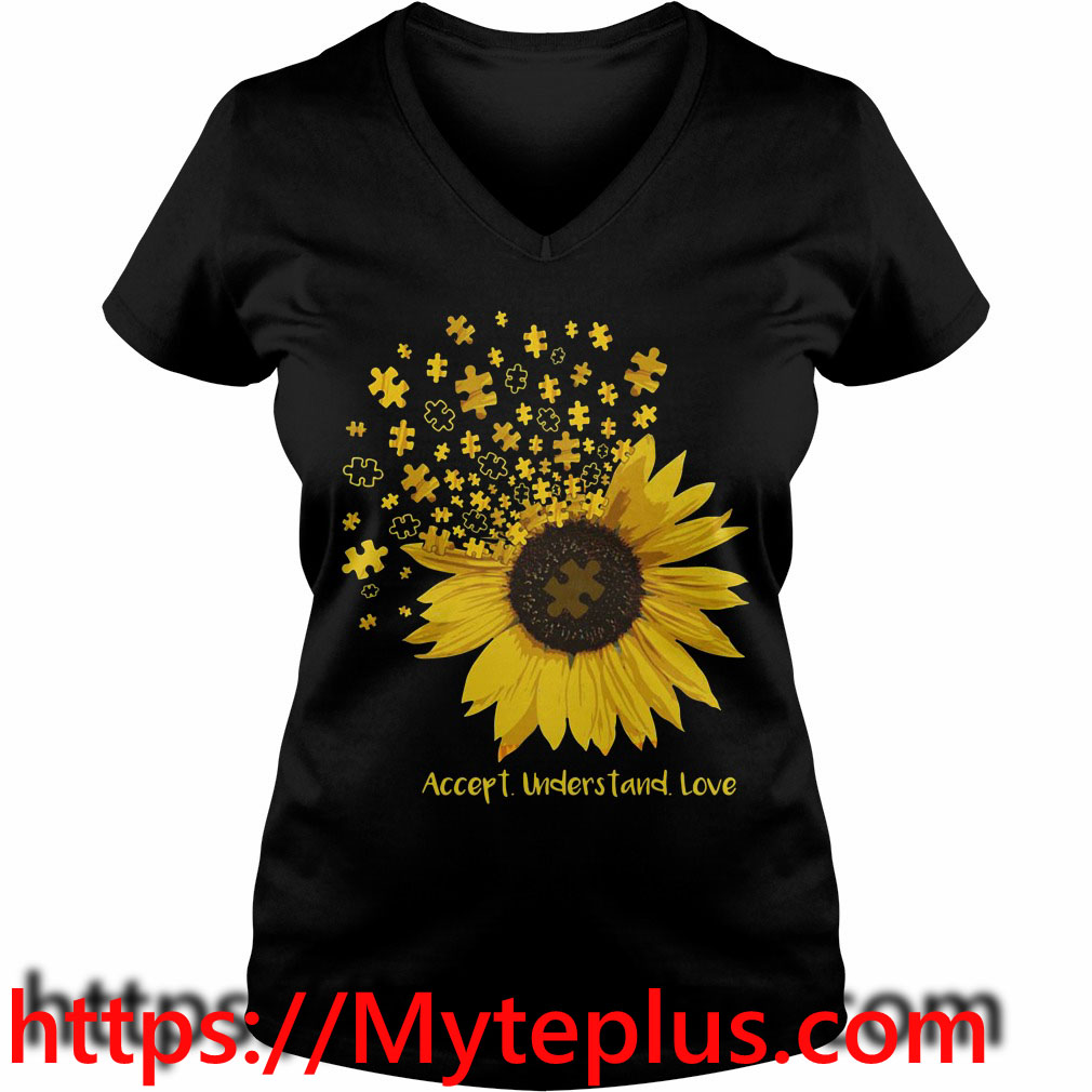 Autism sunflower accept understand love V-neck