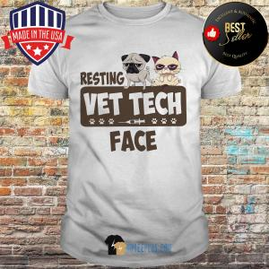 Pug and Grumpy Resting Vet Tech Face shirt