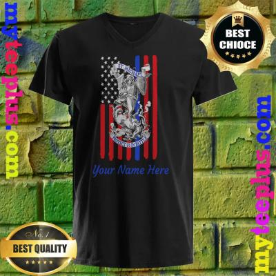 Personalized Patriotic St Michael The Archangel Prayer Flag Adult v neck