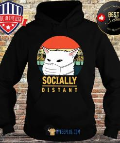 Socially distant cat vintage Covid-19 s Hoodie