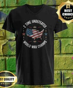 2 Time Undefeated World War Champs USA v neck