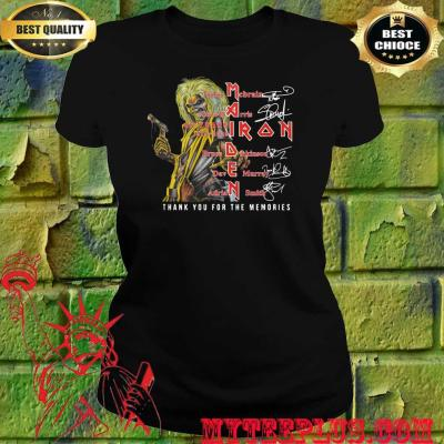 Maiden iron thank you for the memories band members signatures women's t shirt