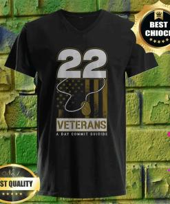 22 Dog Tag Veteran Suicide Awareness v neck