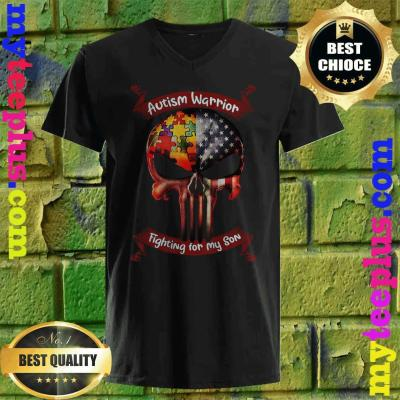 Autism Warrior Fighting For My Son Gifts For Mom Dad Parents v neck