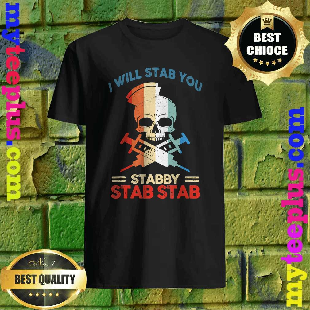 Best Skull I Will Stab You Stabby Funny Halloween Gifts T-Shirt