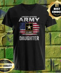United States Army Daughter With American Flag v neck