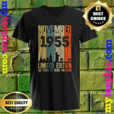 November 1955 Funny 65th Birthday 65 Years Old Gift v neck