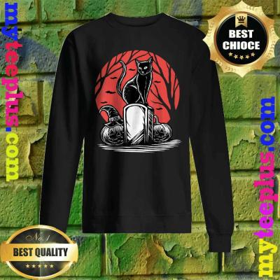 Scary Black Cats Moon Pumpkin Funny Halloween Horror Gifts Sweatshirt
