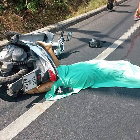 Traffic death riding a scooter in Thailand