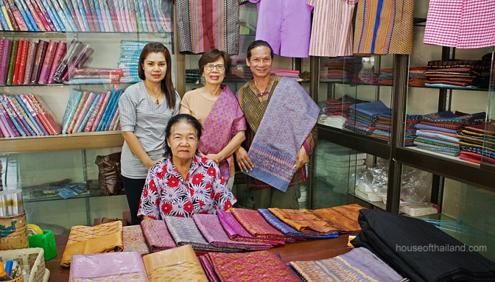 A silk shop in Chonobot, Thailand