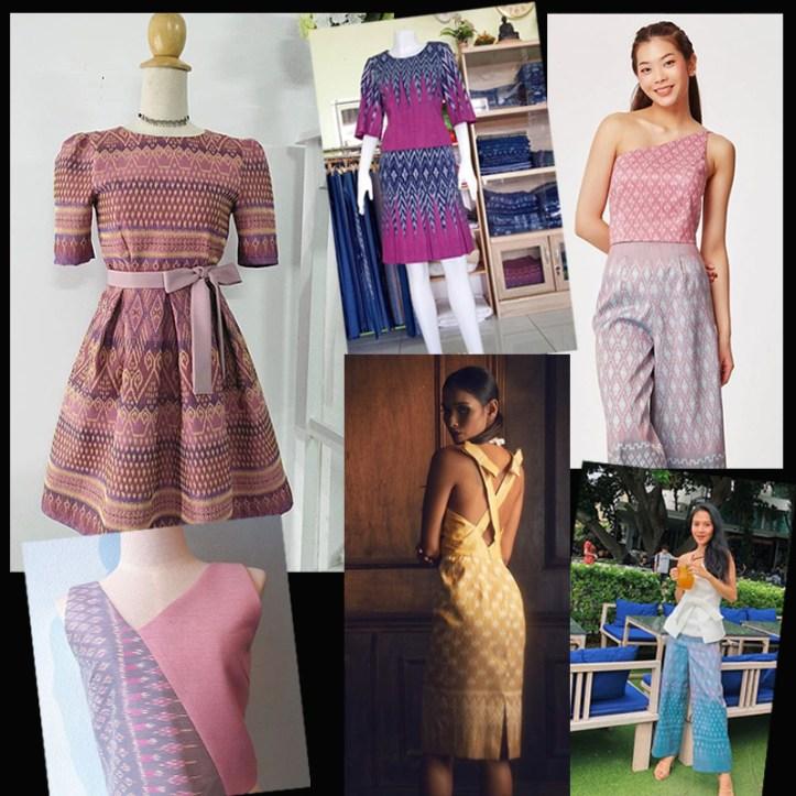 Thai mudmee fashion collage