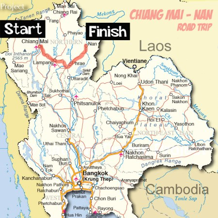 Map of Thailand Chiang Mai to Nan