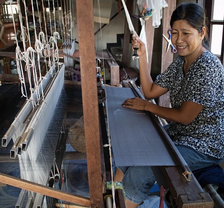 Thai brocaded silk in Surin, Thailand