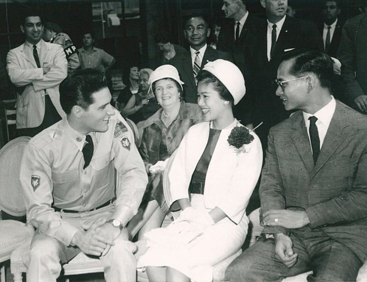 Queen Sirikit, the King (Rama 9) and Elvis Presley.