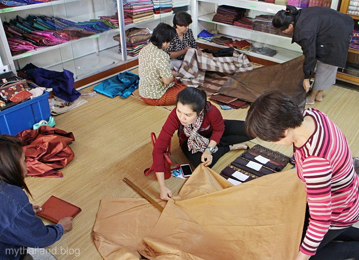 Shopping for Thai silk in Yasoton Province.