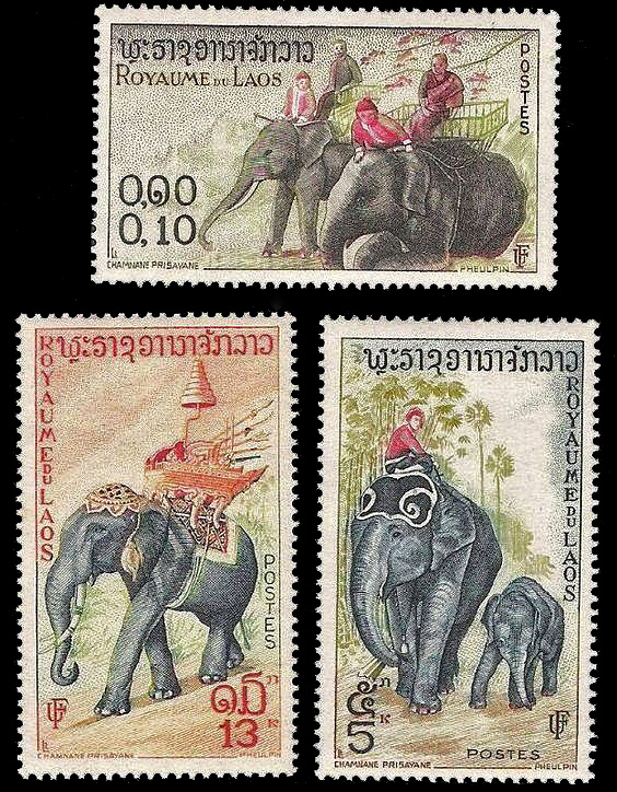 Laotian Elephant Postage Stamps