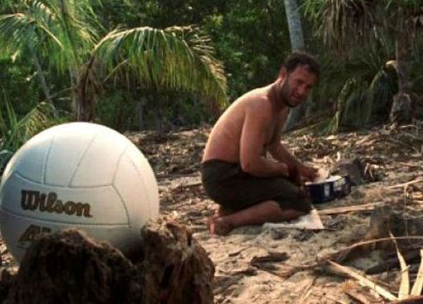 Tom Hanks with his friend Wilson in the 2000 film Cast Away