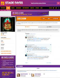 Find all social media feeds for SIDE SHOW & its cast on www.stagefaves.com