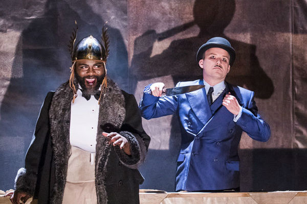 Rory Kinnear (right) is Macheath in Threepenny Opera at the National