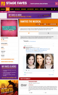 Find all social media for VANITIES and its cast on www.stagefaves.com