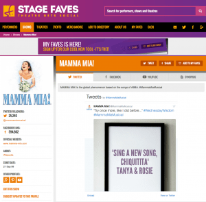 Find all social media for the West End production of MAMMA MIA! on www.stagefaves.com
