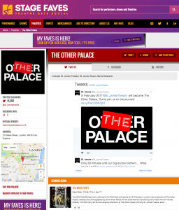 Get all social media for The Other Palace & its musicals on www.stagefaves.com