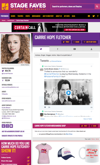 Get all social media for Carrie Hope Fletcher & 2000+ other musical stars on www.stagefaves.com