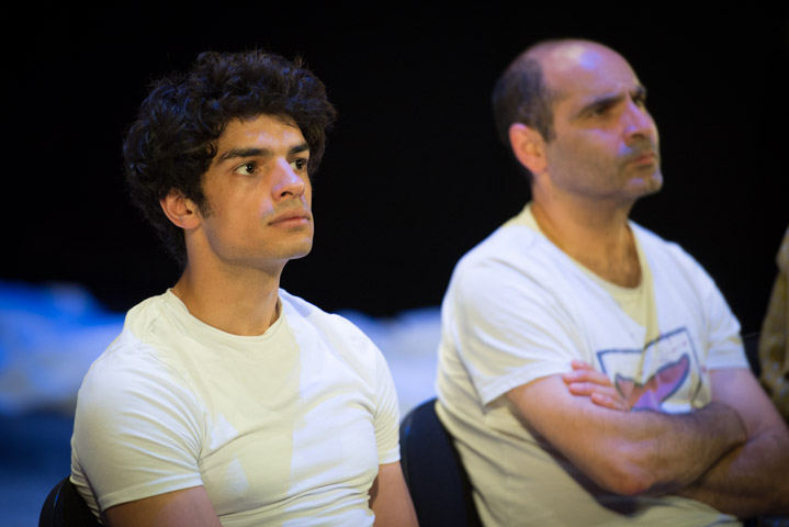 Equus stars Ethan Kai & Zubin Varla at the post-show Q&A chaired by Terri Paddock at Trafalgar Studios. © Peter Jones