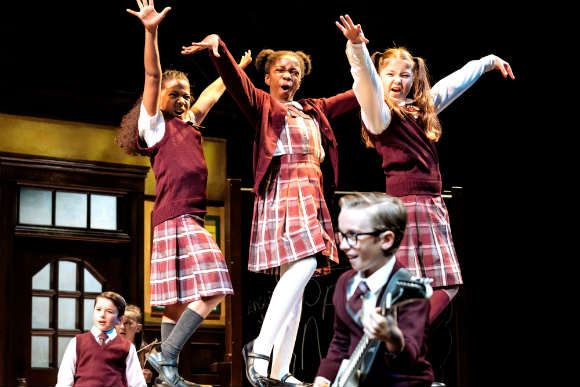 Schoolgirls in School of Rock at the West End's Gillian Lynne Theatre