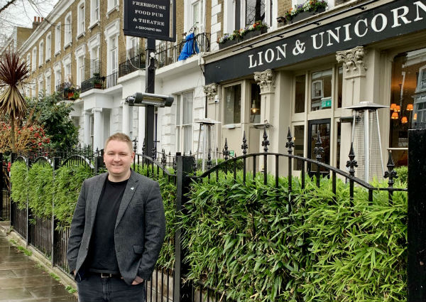 Artistic director David Brady at London's Lion & Unicorn Theatre, 2019