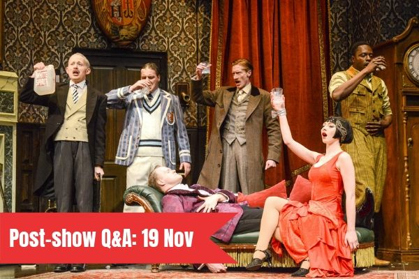 Terri Paddock chairs a post-show Q&A at Mischief Theatre's The Play That Goes Wrong on 19 November 2019