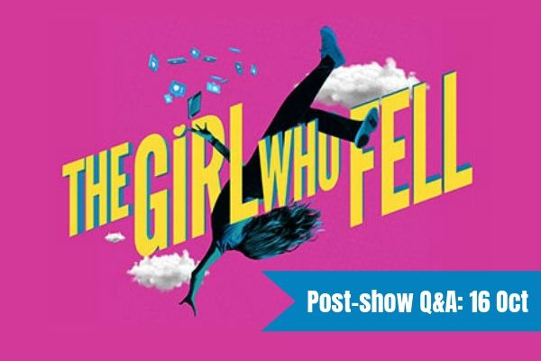 Terri Paddock chairs a post-show Q&A with writer Sarah Rutherford at the premiere of The Girl Who Fell at London's Trafalgar Studios on 16 October 2019