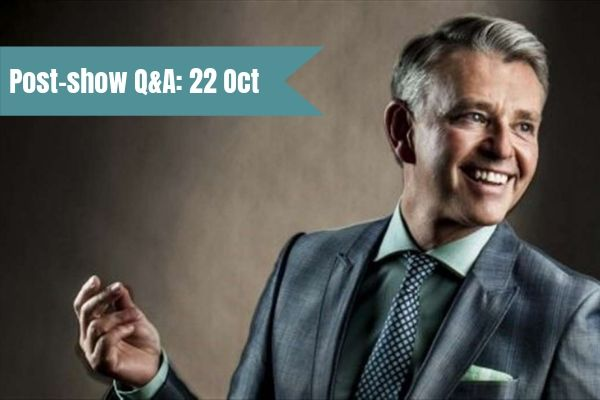 Terri Paddock chairs a post-show Q&A with Sinatra: Raw writer & star Richard Shelton at Wilton's Music Hall on 22 October 2019