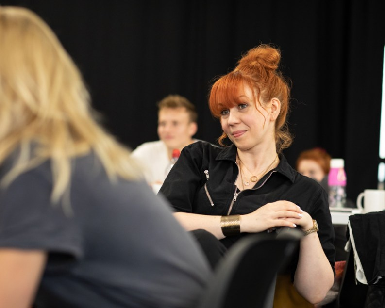 Sarah Rutherford with the company in The Girl Who Fell rehearsals