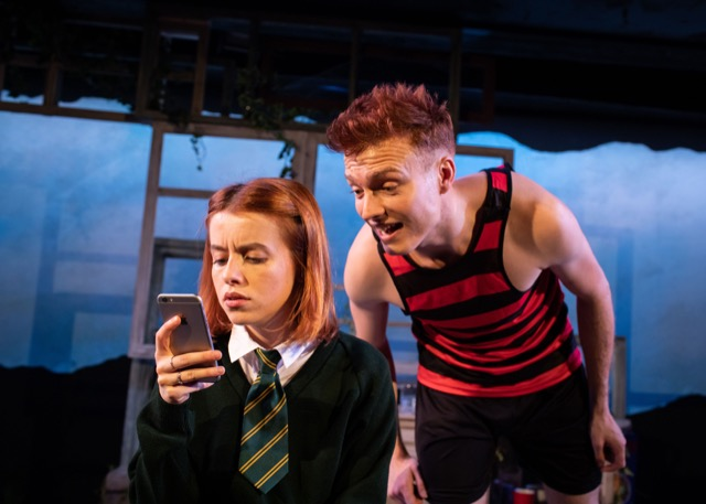 Rosie Day and Will Fletcher in The Girl Who Fell at Trafalgar Studios