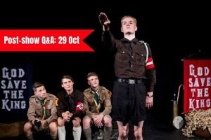 Terri Paddock chairs a post-show Q&A at Glenn Chandler's The Good Scout on 29 October 2019