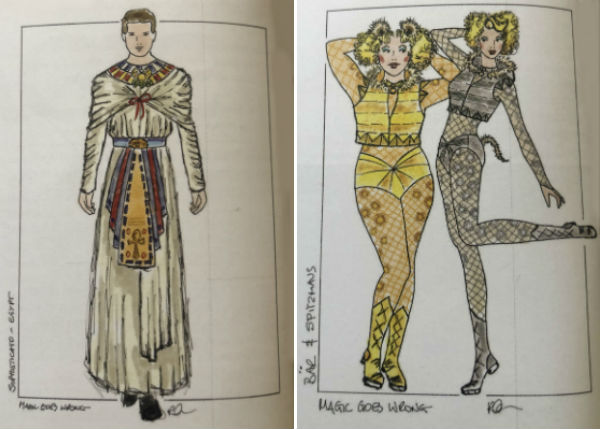 Designer Roberto Surace's costume sketches for Mischief Theatre's Magic Goes Wrong