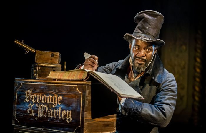 Paterson Joseph as Scrooge in A Christmas Carol at the Old Vic in 2019