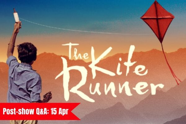 Terri Paddock chairs a post-show Q&A for The Kite Runner at Churchill Theatre, Bromley