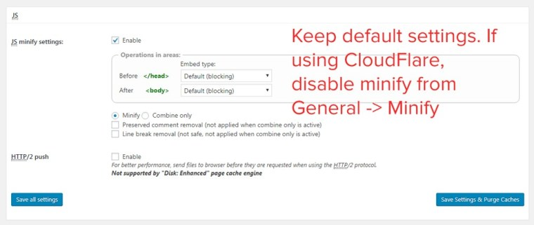 minify js settings