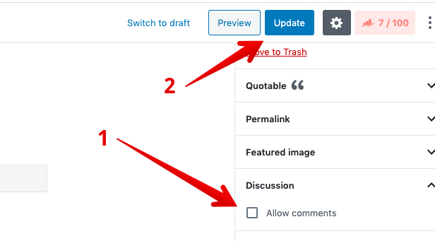 Disable comments on pages block editor