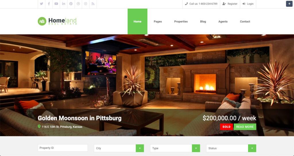 Homeland–Real Estate WordPress Theme