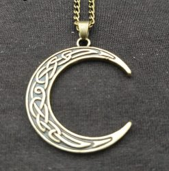 Crescent Moon Celtic Knot Pendant Necklace